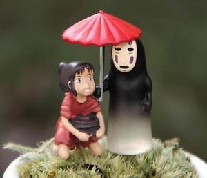 2pc Spirited Away No Face Ghost Mini Figurine Home Decor Fairy Garden Toy
