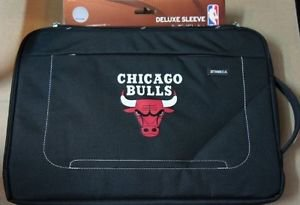 """Chicago Bulls Deluxe Sleeve 15"""" - 16"""" Laptop by Tribeca, Black, One Size"""