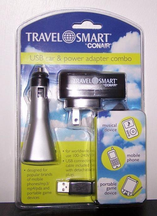 Travel Smart by Conair USB Car and Power Adapter Combo TS252AD
