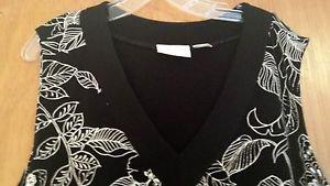 Alfred Dunner Women's Black White Knit Sleeveless V-Neck Top  size 1X EUC