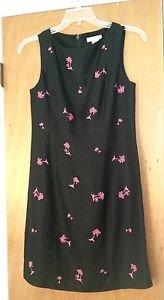 ANNIE ALEXANDER WOMENS BLACK LINEN BLEND SHEATH DRESS PINK PALM TREE SIZE 6