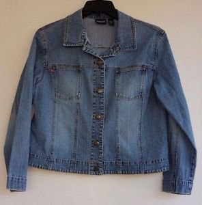 Chico's Womens Distressed Stretch Blue Jean Jacket Size 2, Medium, Misses 12