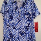 Cathy Daniels Womens Blue & White Print Top Pullover Polo Shirt NWT $44 Size M