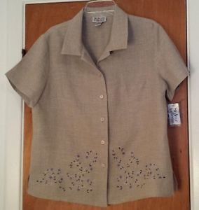 Womens Style&co Beige 100% Linen Blouse Top Purple Embroidery NWT Size 12