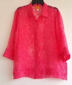 Womens Ruby Rd. Orange Lace See Through Blouse Top Size 18 3/4 Length Sleeve