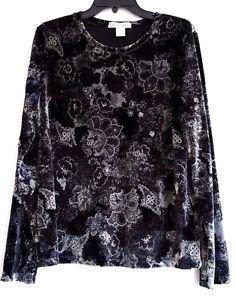 Womens Black Velour Top Size XL Stretch Floral Print Metallic Silver Long Sleeve
