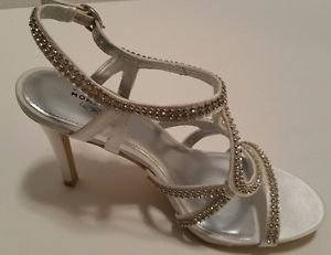 Unforgettable Moments Womens White Rhinestone Strappy Sandal Heels Shoes Size 6M