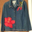 Tantrums Womens Blue Jean Denim Jacket Coat Size Small Red Sequin Applique