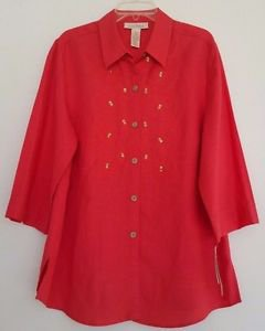 C.l.o.t.h.e.s Womens Coral Linen Blend Blouse Shirt Sequinned Size XL NWT $50