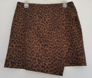 Ann Taylor Womens Short Leopard Print Skirt Size 8 Gold & Brown Lined