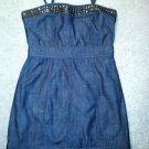 Twenty One Women's Denim Dress Removable Straps Strapless Brads Size Large
