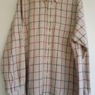 Nautica Mens Tan Plaid Shirt Size XL Long Sleeve Button Front & Collar Red Blue