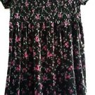 Gap Girls Black Rose Print Velour Smocked Christmas Holiday Party Dress size M