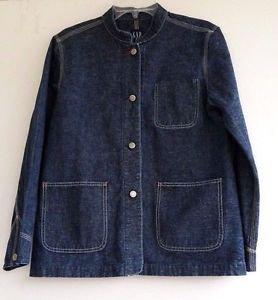 Gap Womens Denim blue Jean Jacket Top Coat size M Nehru Collar Button Front