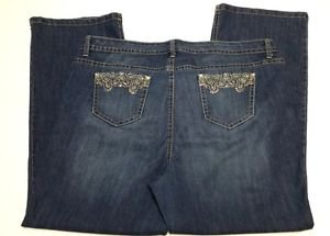 New Direction Womens Stretch Denim Blue Jeans Rhinestone Pocket Bootcut Size 24W