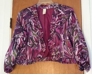 Womens Lavender & Honey Purple Geometric Print Short Jacket Size XL