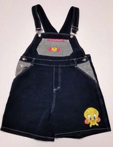 Womens Tweety Bird Looney Tunes Denim & Striped Overall Shorts Shortalls Size S