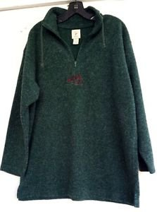 VICTORIA'S SECRET Country Green Fleece Pullover Sweater Red Embroidery Size M