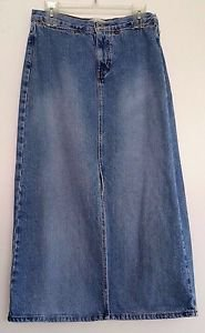 Gap Womens Distressed Denim Blue Jean Long Skirt Size 6 Riveted Open Front