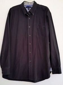 Tommy Hilfiger Mens Navy Blue Cotton Shirt Long Sleeve Button Front Size XL