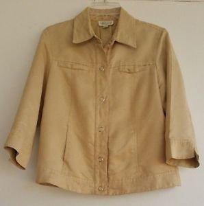 Womens Coldwater Creek Beige Tan Suede Feel Jacket Top Size 6 Lined Trucker