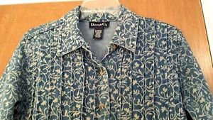 Denim & Co Womens Blue Floral Blue Jean Stretch Denim Jacket Coat Size X-Small