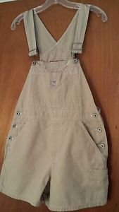 Old Navy Cotton Khaki Color Distressed Overall Shorts Size Small