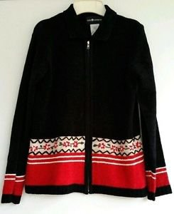 Sag Harbor Womens Black Red Christmas Holiday Zip Front Cardigan Sweater Size M