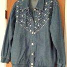 Womens Vintage 100% Cotton Denim Blue Jean Jacket by Teddi Size Large NWT