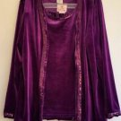 Quacker Factory Womens Purple 3 Piece Suit Sz XL Velour Jacket Skirt Tank Sequin