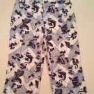 Chico's Womens Blue & White Sea Horse Print Capri Cropped Pants sz 1.5, sz 10