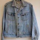 Mens Retro Lee Very Distressed Grunge Denim Blue Jean Trucker Jacket Size L Reg