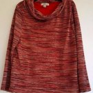 Coldwater Creek Womens Red/multi-color Striped Cowl Neck Woven Top Blouse Size L