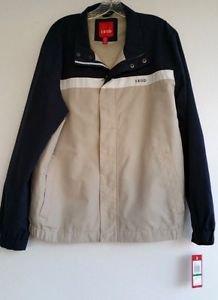Mens Izod Tan & Navy Blue Rain Windbreaker Jacket Size Large NWD