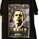 """Obama 2012 """"Our Commander In Chief"""" T-Shirt Black & Gold 100% Cotton Size XL NWT"""