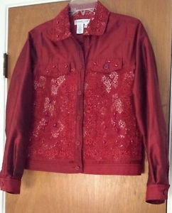 Coldwater Creek Womens Red Silk Blend Sequin Beaded Lace Jacket Top Size XS