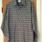 Neiman-Marcus Mens Gray Print Button Front Shirt Size Large Long Sleeve Made USA