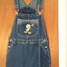 Looney Tunes Tweety Bird Denim Blue Jean Overall Shorts Shortalls Size M