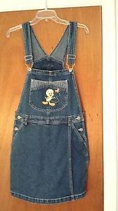Looney Tunes Tweety Bird Denim Blue Jean Overall Shorts Shortalls Size M