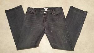 Metro 7 Seven Womens Distressed Stretch Denim Low Boot Cut Blue Jeans Size 12