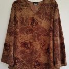 Maggie Barnes Womens VTG Brown Paisley Print Top Blouse Size 18W Bell Sleeves
