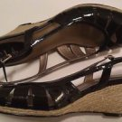 Cole Haan Air Sari Black Patent Womens Designer Espadrille Wedges Slingbacks 11B