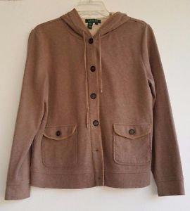 Lauren Ralph Lauren Womens Tan Button Front Sweatshirt Hoodie Jacket size L