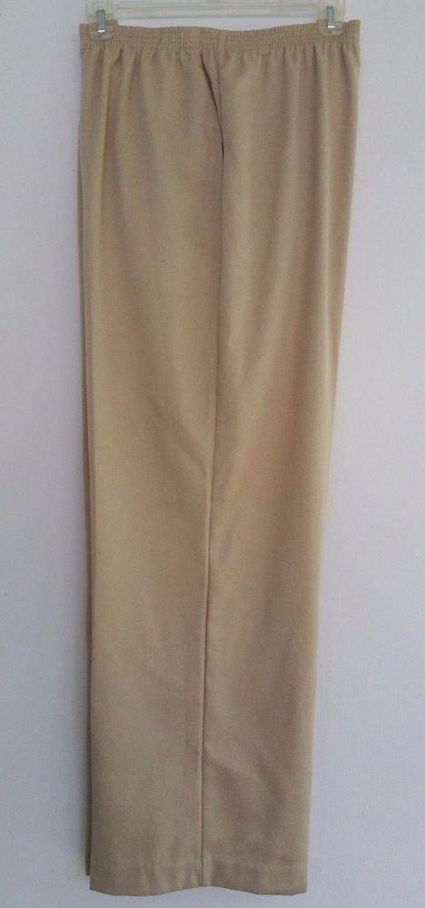 Alfred Dunner Womens Classic Khaki Beige  Pants Size 18 L28 PullOn Elastic Waist