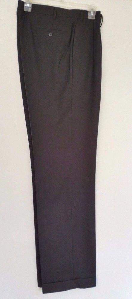 Lauren Ralph Lauren Mens Pleated Front Cuffed Black Dress Pants Size 36W 34L