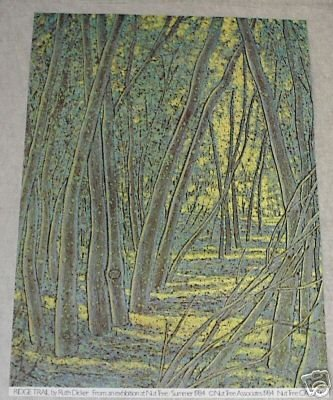 1984 RUTH DICKER NUT TREE LANDSCAPE POSTER PRINT