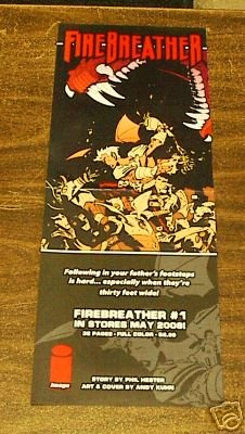 FIREBREATHER #1 PROMO POSTER 9 x 24 (2008)