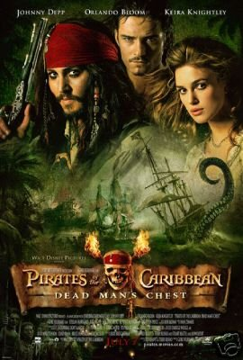 PIRATES OF THE CARIBBEAN 2 MOVIE POSTER JOHNNY DEPP 24 x 36 inches
