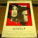 1987 SUSPECT MOVIE POSTER CHER DENNIS QUAID 27 x 40 inches FREE SHIPPING