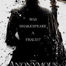 ANONYMOUS movie poster SHAKESPEARE VANESSA REDGRAVE Free shipping